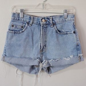 Vintage Distressed High Waisted Denim Shorts